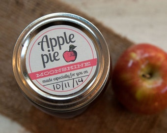 Customized Mason Jar Label Lid stickers for apple pie moonshine, apple jelly, apple jam, apple sauce, canned apples, pie filling