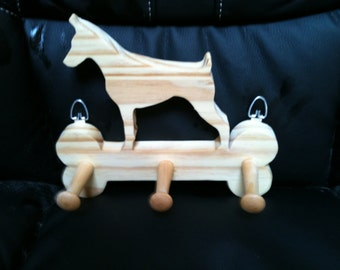 Wooden Dobermann leash holder
