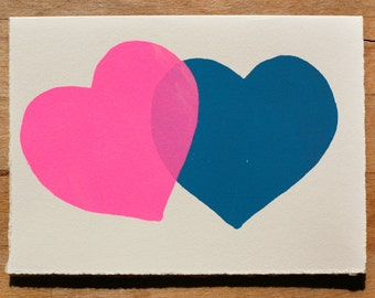Two Hearts Blank Greeting Card
