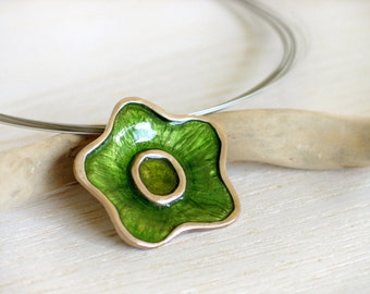 Green Flower Pendant - Resin in Stering Silver - Nature jewelry