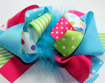"""5.5-6"""" Blue, Hot Pink, Green White Polka Dot Funky Hair Bow-Over The Top Bow"""