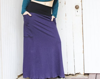 Full Length Hemp Passport Pocket Skirt - Organic Women's Clothing - Made to Order - Hemp and Organic Cotton Jersey - Eco Fashion