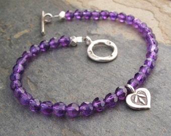 Amethyst Thai Hill Tribe Silver Bracelet - Love Charm