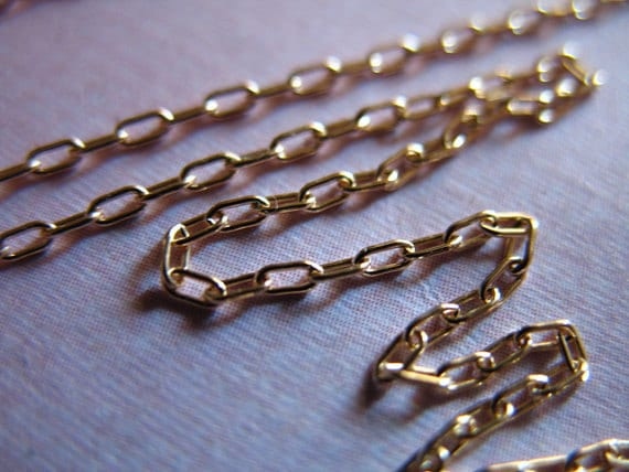 Shop Sale..10 feet, Gold Filled Chain, 2.5x1.2 mm, DRAWN CABLE, 14k Gold Rounded Links, 10-18% Less Bulk, petite ssgf sgf3 solo