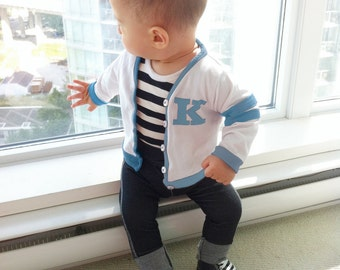 Baby Boy Blue Custom Varsity Outfit, Boys 50s Fifties Lettermans Jacket Set, Monogram Personalized Boys Set, Letter Sweater Jeans Onesie