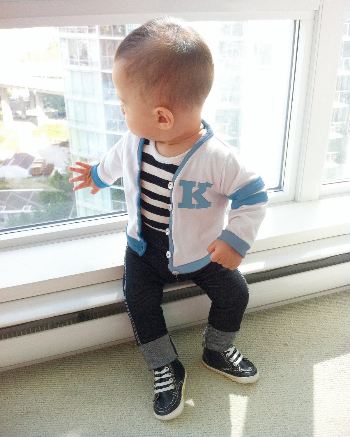 Baby Boy Blue Custom Varsity Outfit Boys 50s Fifties