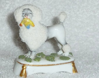 Vintage Staffordshire Poodle Dog GERMAN Porcelain Figurine with Bird in Mouth 1900s STUNNING