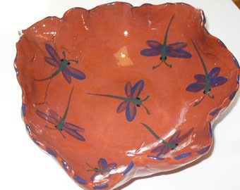 Dragonfly Red Clay Bowl/pottery/dragonflies