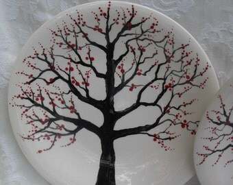Place settings for two 4 piece set Cherry Trees Plates and Salad Plates
