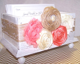 Wedding Guest Book Box - Coral, White, Ivory and Burlap, Shabby Chic White Box, Custom colors available