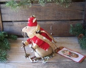 PriMiTiVe Folk Art Christmas Mouse Doll on Skis