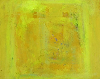 Original Yellow Art Painting on wood, 8x8 inches