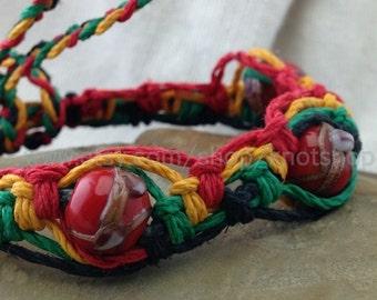 Rasta Hemp Macramé Bracelet, Anklet or Choker Necklace - Beaded - Adjustable - 6 to 12 Inches - Rastafarian Colors - Macrame