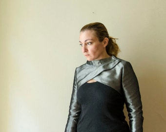 50% Off Sample Sale Silver Denim Modern Bolero, Futuristic Cropped Jacket, Evening Silver Black Shrug