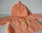 Knit Baby Jacket and Hat/Baby Girl/Peach/Acrylic     READY TO SHIP    Size Newborn to 6 months