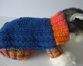 Hand Knit Dog Sweater/Blue Suede            Size Petite          READY TO SHIP