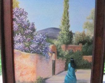 Art - Oil Painting - Southwest Courtyard Scene, Gorgeous 16 X 20