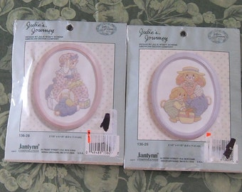 Two Bunny Crewel Kits with Frames and Two More bunny Kits