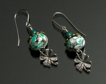 Four Leaf Clover Irish Dangle Earrings - Green Good Luck Earrings - Blarney Stone - St. Patricks Day - Holiday Earrings - Unique Gift Women