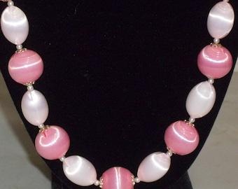 Vintage Pink Bold Beads Beaded Necklace Japan Shiny