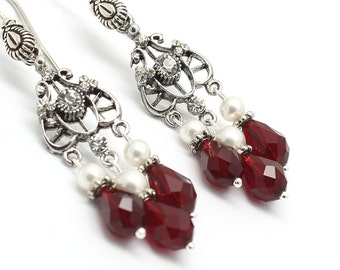 Red Chandelier Earrings Siam Swarovski Crystals White Pearls Filigree Victorian Earrings Bridal Jewelry  Wedding Red Jewelry