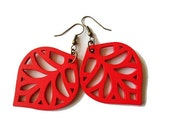 Red Wooden Leaf Earrings