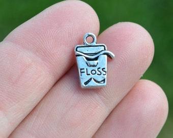 1 Silver Dental Floss Charm SC1820