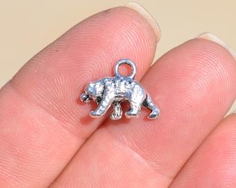 10 Silver Bear Charms SC1556