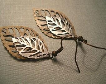 Silver Brass Leaf Earrings Silver and Brass Earrings Bridesmaid Earrings Leaf Jewelry