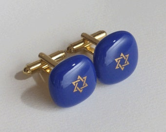 Star of David cufflinks - Fused glass - Gold on cobalt