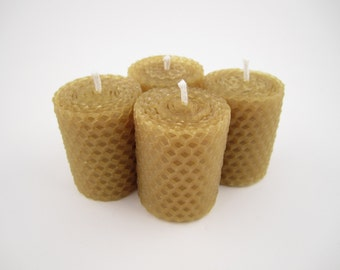 Set of 4 Hand Rolled Beeswax Votive Candles | Small Hand Rolled Beeswax Candles, Very Beautiful and Unique