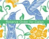 "Hummingbird Napkin Set of Six - 16"" Organic Cotton Sateen"