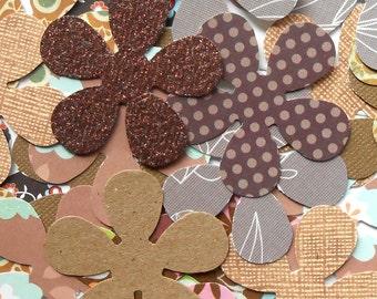DESTASH - 25 Assorted Brown / Tan 5 Petal Flower Die Cuts