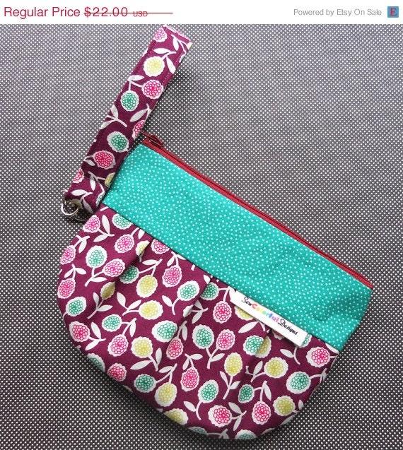 CLEARANCE Pleated Fabric Zipper Wristlet : Lil' Punkin Pouch - Autumn Jewel