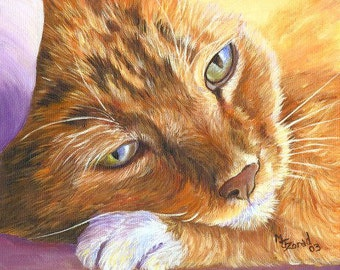 "Orange Tabby Cat Art print Mary Jo Zorad   ""Eyes of teh Cat"" Series"