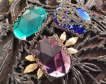 Jewel in Setting, Faceted Oval, Large Faceted Jewel in Handmade Filigree Setting