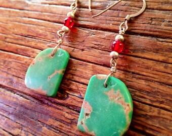 Beautiful Native American made Kingman turquoise  earrings