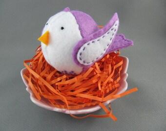 Lavender Felt Bird Ornament Embroidered Handmade Wool Felt Bird