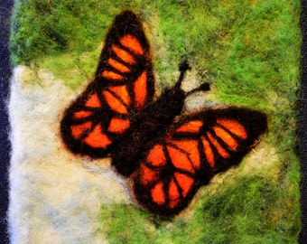 "084 ""Butterfly"" Thyme Tile Needle Felting Pattern Kit"