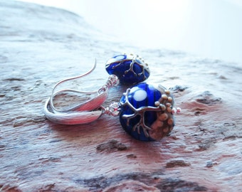 Lampwork earrings.  Tree earrings.  Dark blue earrings.  Nighttime earrings.  Full moon earrings.