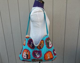 SALE Dia De Los Muertos Day of the Dead Shoulder Hobo Blue Bag