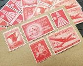 Wings of Red .. PREMIUM .. UNused Vintage Postage Stamps  .. post 5 letters
