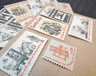 Freedom of the Press .. UNused US Vintage Postage Stamps  .. post 5 letters