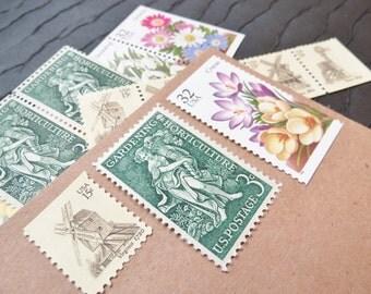 Spring Garden .. UNused Vintage Postage Stamps  .. post 5 letters