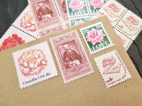 Pink .. LOVE .. UNused US Vintage Postage Stamps  .. post 5 letters