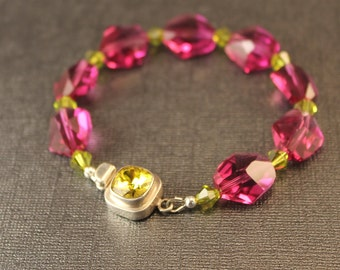 The Lori Hot Pink/Fuschia Crystal Nugget and Swarovski Bicone Lime Green Crystal Bracelet w Peridot Hued Crystal and Sterling Silver Clasp
