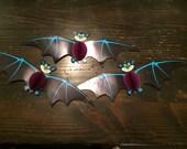 Vintage 1980s Beistle Co. Set of 3 bats Halloween decor school room decor
