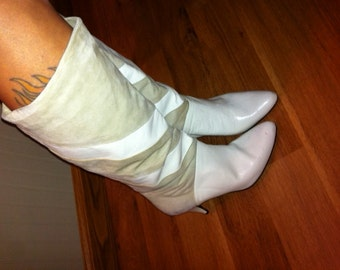 Creamy Leather and Suede Chevron Slouch Boots...