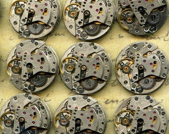 "13/16""... 10 vintage watch movements... T 17"