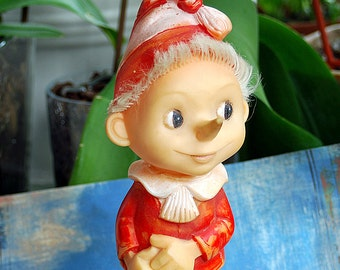 vintage rubber toy Pinocchio with golden key, Home decor, collectibles, cool vintage, UA